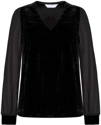 PAISIE - V Neck Velvet Top With Sheer Sleeves In Black