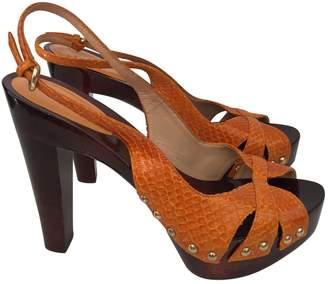 Sergio Rossi 100% Authentic Wood Platforms Orange Python Leather Sandals