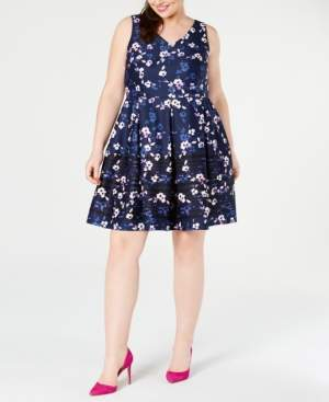 Taylor Plus Size Printed Fit & Flare Dress