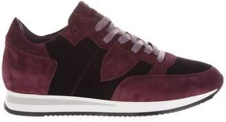 Philippe Model Tropez Burgundy Black Velvet & Suede Sneakers