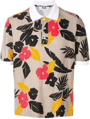 MSGM tropical print polo shirt