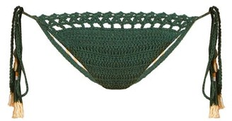 She Made Me Essential Tie Side Crochet Bikini Briefs - Womens - Green