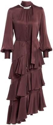 Zimmermann Eye Spy Asymmetric Tier Ruffle Silk Flounce A-Line Maxi Dress