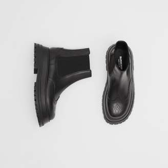 Burberry Brogue Detail Leather Chelsea Boots