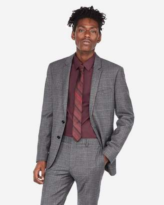 Express Extra Slim Textured Plaid Wool-Blend Stretch Suit Jacket