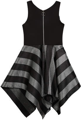 Neiman Marcus Zoe Presley Knit Dress w/ Metallic Stripe Skirt, Size 4-6X