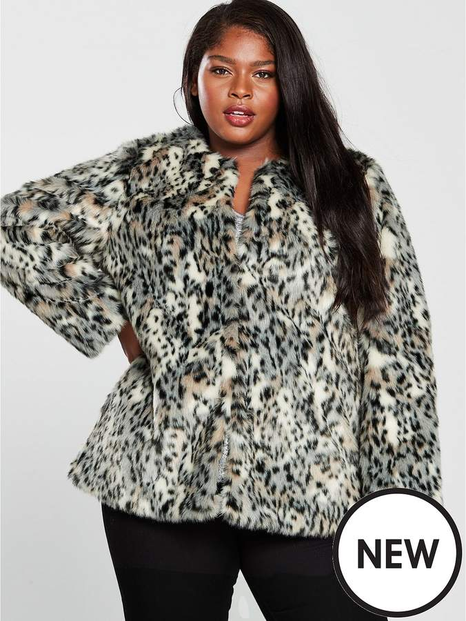 V By Very Curve Faux Fur Coat - Leopard