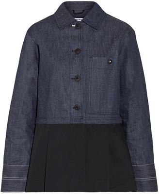 Elizabeth and James - York Paneled Pleated Cotton-poplin And Denim Jacket - Dark denim $495 thestylecure.com