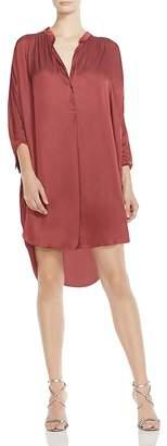 Halston Shirred Satin Shirt Dress