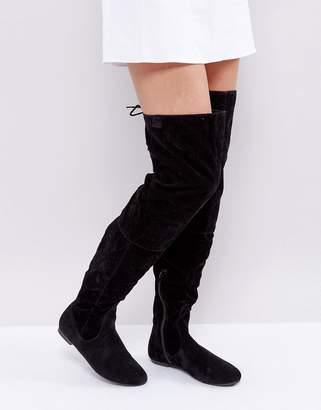 Daisy Street Lace Back Black Over The Knee Boots