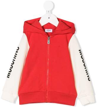 Moschino Kids contrast sleeves zipped hoodie