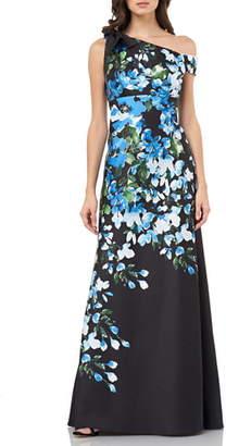 Carmen Marc Valvo Floral Print Bow Shoulder Gown