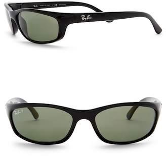Ray-Ban Polarized 57mm Wrap Acetate Sunglasses