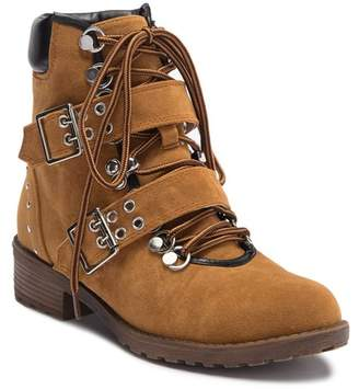 Chase & Chloe Kendy Faux Suede Combat Bootie