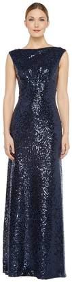 Donna Morgan Boat Neck Empire Waist Sequin Women's Dress