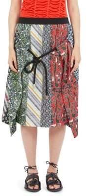 Carven Silk Multi-Print Skirt