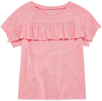 Arizona Short Sleeve Ruffle Front Tee - Girls' 4-16 & Plus