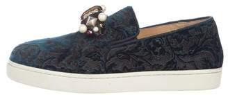 Christian Louboutin Velver Slip-On Sneakers