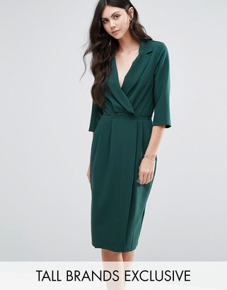 Alter Tall 3/4 Sleeve Wrap Front Dress With Lapels $67 thestylecure.com