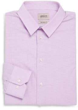 Armani Collezioni Modern-Fit Check Cotton Dress Shirt