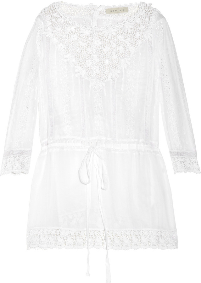 Sandro Eva crochet-trimmed cotton blouse