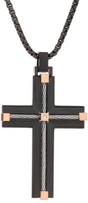 Men's Black Ion Plated Stainless Steel Cable Cross Pendant