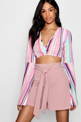 boohoo Tall Belted Tailored Shorts