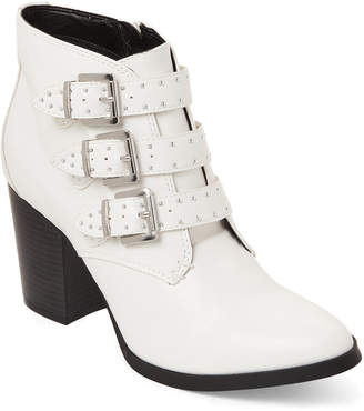 Madden-Girl White Sierra Studded Triple Buckle Booties