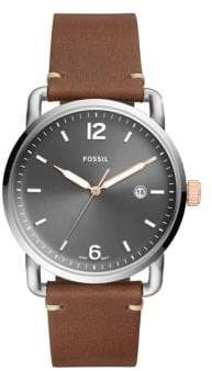Fossil The Commuter Three-Hand Light Brown Leather Watch