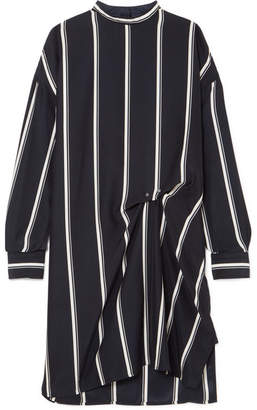 Rag & Bone Jacklin Gathered Striped Silk Mini Dress - Navy