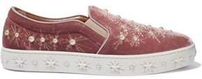 Aquazzura Cosmic Pearls Embellished Velvet Slip-On Sneakers