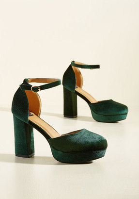 NYLA Shoes Inc. Go With the Stride Velvet Heel in Pine $54.99 thestylecure.com