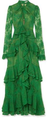 Erdem Kimber Ruffled Cotton-blend Lace Gown - Green