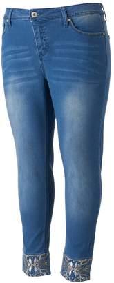 Hydraulic Juniors' Plus Size Lola Curvy Embellished Skinny Jeans