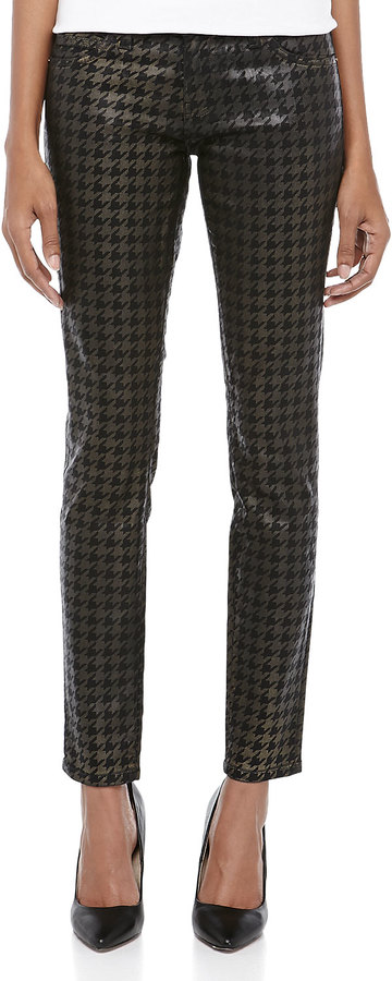 Current/Elliott The Ankle Skinny Houndstooth Jeans, Black Foil