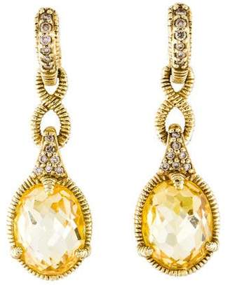 Judith Ripka 14K Canary Crystal & Diamond Drop Earrings