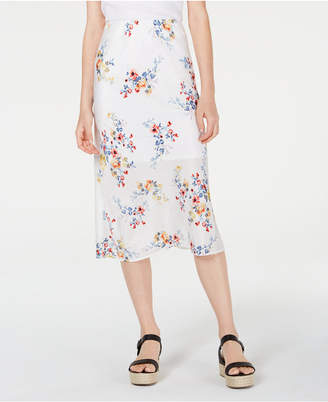 Material Girl Juniors' Printed Textured Midi Skirt