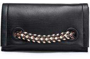 Roberto Cavalli Chain-Trimmed Leather Clutch