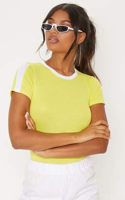 PrettyLittleThing Yellow Contrast Stripe Thong Bodysuit