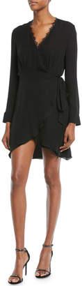 L'Agence Trino Long-Sleeve Silk Wrap Dress