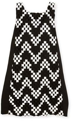 Zoe Riley Sleeveless Colorblock Chevron Shift Dress, Black/White, Size 7-16