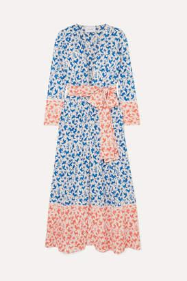 Leone we are Printed Silk-blend Robe - Blue