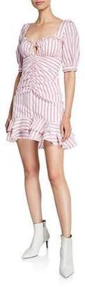 Jonathan Simkhai Striped Puff-Sleeve Ruffle Mini Dress