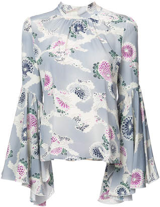 Co flare cuffed floral print blouse