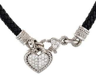 Judith Ripka 18K Diamond & Leather Heart Pendant Necklace