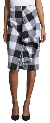 Lord & Taylor Ruffle Front Plaid Pencil Skirt $94 thestylecure.com