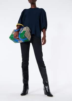 Tibi Savanna Crepe Shirred Sleeve Raglan Top