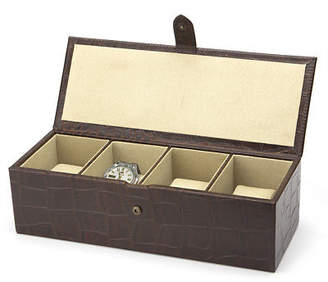 NEW Redd Leather Crocodile Print Brown Watch Box