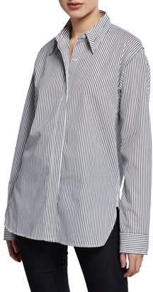 KENDALL + KYLIE Striped Oversized Poplin Shirt with Cutout Yolk