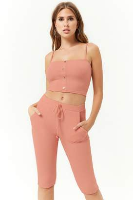 Forever 21 Ribbed Cropped Cami & Bermuda Shorts Set